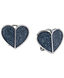 Glitter Heart Button Earrings