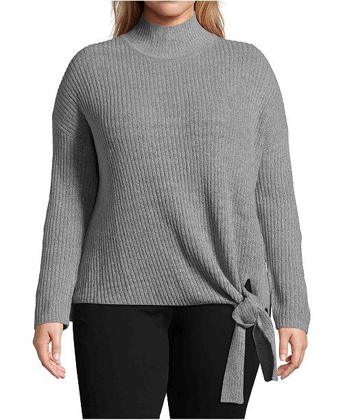 John Paul Richard Plus Size Mock-Neck Tie-Hem Sweater