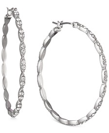 Pavé Medium Scalloped Hoop Earrings, 1.41""