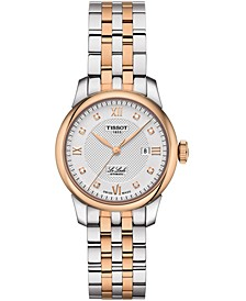 Women's Swiss Le Locle Automatic Lady Diamond Accent Two-Tone Stainless Steel Bracelet Watch 29mm
