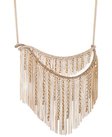 """Gold-Tone Crystal & Chain Fringe Statement Necklace, 16"""" + 3"""" extender"""