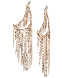 Gold-Tone Crystal & Chain Fringe Statement Earrings