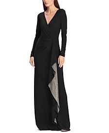 Metallic-Ruffle Jersey Gown