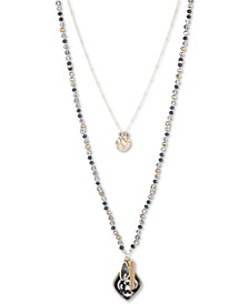 """Gold-Tone Crystal & Stone Beaded Double-Row 18"""" Pendant Necklace"""