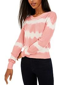 Juniors' Tie-Dyed Crew-Neck Sweater