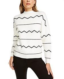 Zig-Zag Pullover Mockneck Sweater