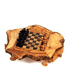 Olive Wood Chess Set Rustic Edge Board 8 x 8