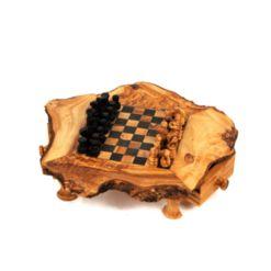 BeldiNest Olive Wood Chess Set Rustic Edge Board 8 x 8