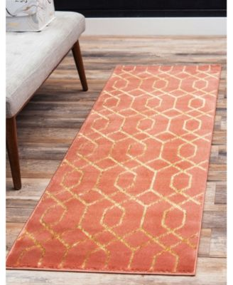 Glam Mmg001 Coral/Gold 2' x 10' Area Rug