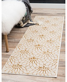 Glam Mmg003 White/Gold 2' x 10' Area Rug