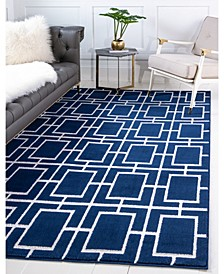 Glam Mmg002 Navy Blue/Silver 9' x 12' Area Rug