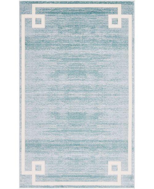Jill Zarin Lenox Hill Uptown Jzu005 Turquoise 5' x 8' Area Rug