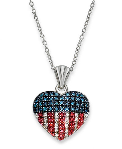Red white and blue diamond flag heart pendant necklace in red white and blue diamond flag heart pendant necklace in sterling silver 1 mozeypictures Choice Image