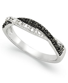 Sterling Silver Ring, Black and White Diamond Weave Ring (1/10 ct. t.w.)