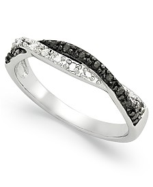 Black and White Diamond Weave Ring in Sterling Silver (1/10 ct. t.w.)