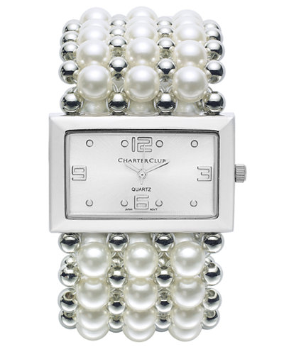 Charter Club Women's Silver-Tone Imitation Pearl Stretch Bracelet 46mm