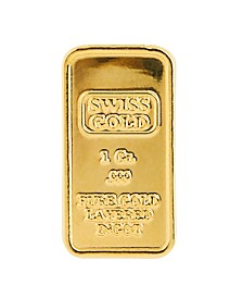 American Novelty Coin Treasures1 Gram Brass Swiss Ingot Tribute Layered in 24KT Gold