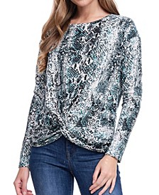Long Sleeve Print Knot Top