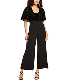 Lace-Mesh Surplice Jumpsuit, Created For Macy's