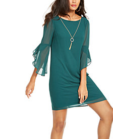 Thalia Sodi Flared-Sleeve Necklace Dress, Created for Macy's