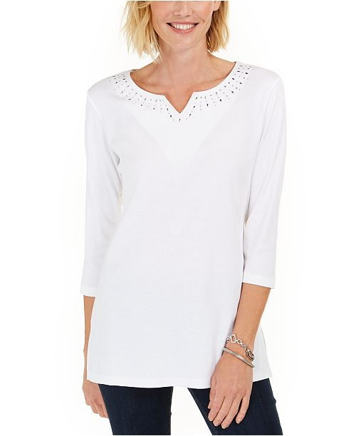 Karen Scott Cotton Studded Split-Neck Top, Created For Macy's