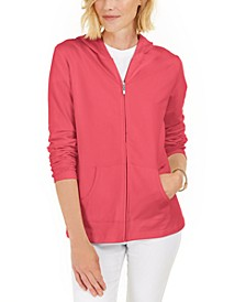 Petite French Terry Zip-Front Hoodie, Created for Macy's