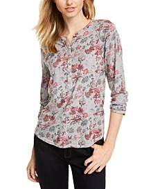 Faded Floral Henley Top