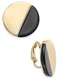 Gold-Tone Sliced Disc Clip-On Button Earrings, Created For Macy's