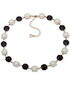 """Gold-Tone Stone & Imitation Pearl Collar Necklace, 16"""" + 3"""" extender"""
