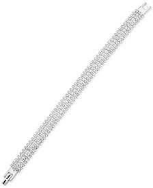 Silver-Tone Rhinestone Flex Bracelet