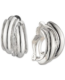 """Silver-Tone Small Hoop Button E-Z Comfort Clip-On Earrings, 1"""""""