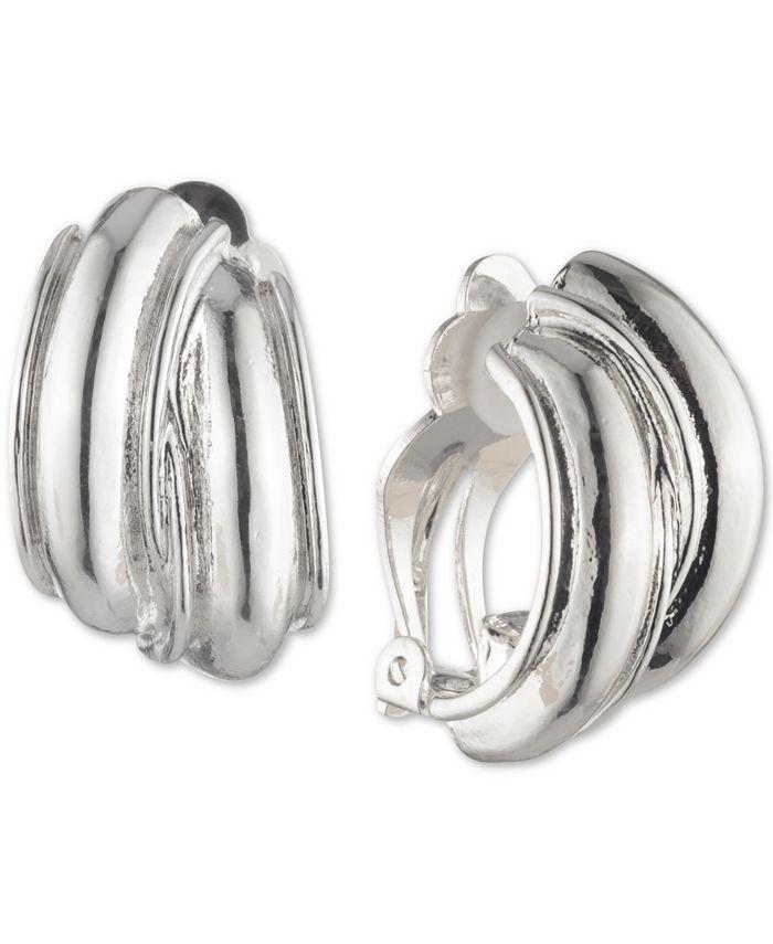 Anne Klein - Silver-Tone Hoop Button Clip-On Earrings
