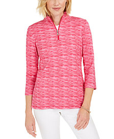 Karen Scott Zip-Neck Pullover, In Regular and Petite, Created for Macy's