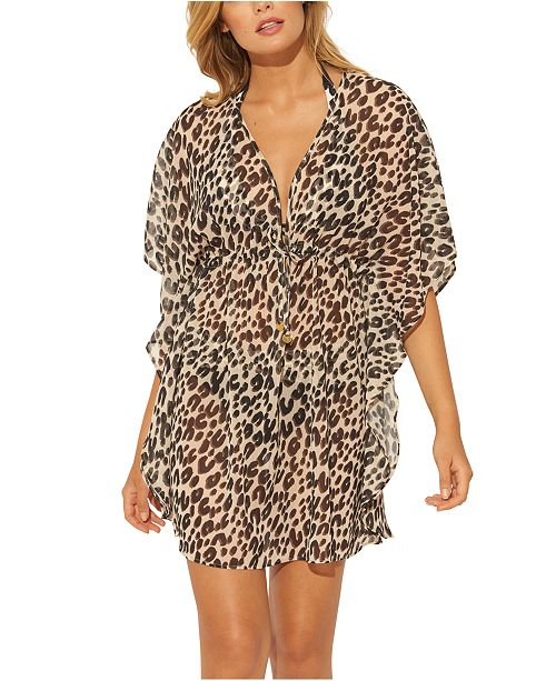 Bleu by Rod Beattie Leopard Printed Caftan Cover-Up