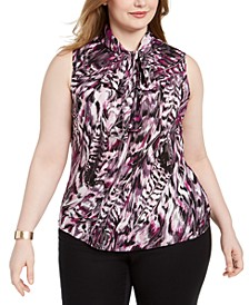 Trendy Plus Size Printed Tie-Neck Top, Created For Macy's