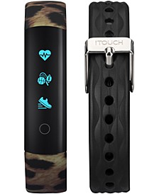 Unisex Slim Interchangeable Leopard Printed & Black Silicone Straps Activity Tracker 13x39mm