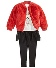 Little Girls Moon T-Shirt, Faux-Fur Jacket & Tutu Leggings, Created For Macy's