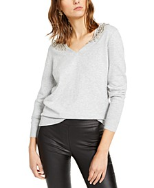 INC Embellished-Shoulder V-Neck Sweater, Created For Macy's
