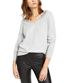 INC Embellished-Shoulder V-Neck Sweater, Created For Macy's