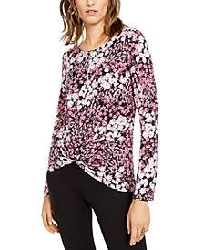 INC Floral-Print Twist-Front Top, Created For Macy's