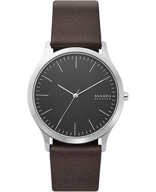 Skagen Men's Jorn Brown Leather Strap Watch 41mm
