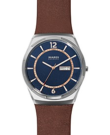 Men's Melbye Brown Leather Strap Watch 45mm