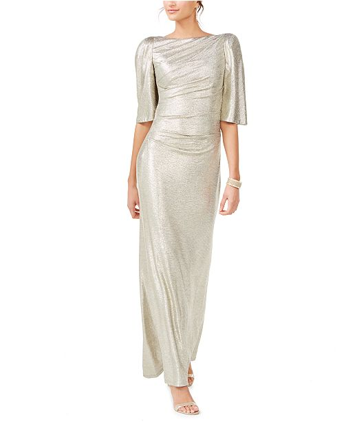 Eliza J Gold Boat-Neck Gown