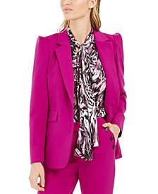 Puff-Shoulder One-Button Blazer, Created For Macy's