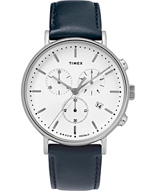 Men's Chronograph Fairfield Navy Leather Strap Watch 41mm