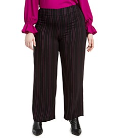 Trendy Plus Size Striped Wide-Leg Pants, Created For Macy's