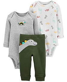 Baby Boys 3-Pc. Cotton Dinosaur Bodysuits & Pants Set
