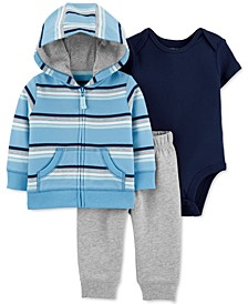 Baby Boys 3-Pc. Cotton Striped Hoodie, Bodysuit & Pants Set