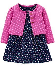 Baby Girls 2-Pc. Cotton Floral-Print Bodysuit Dress & Cardigan Set