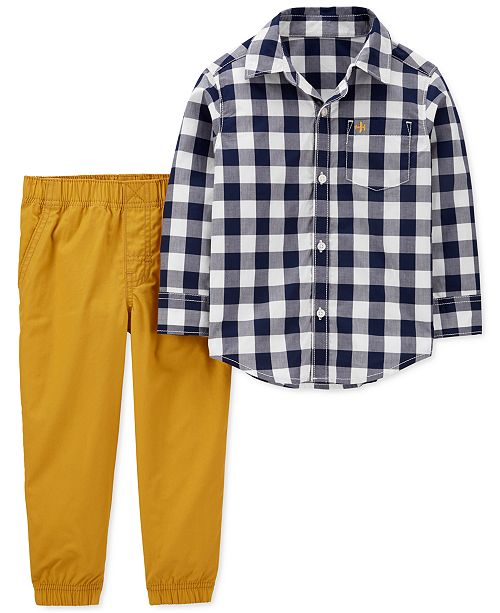 Carter's Baby Boys 2-Pc. Cotton Gingham-Print Shirt & Pants Set